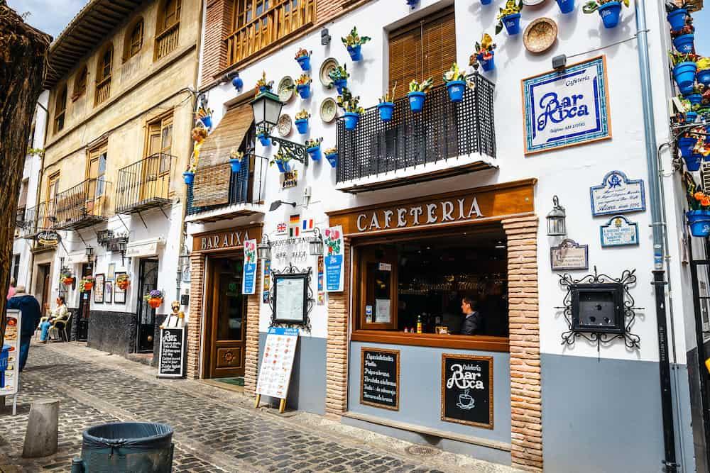 Granada, Spain, Street view of the historic district of Albaicin in Granada, Andalusia, Spain