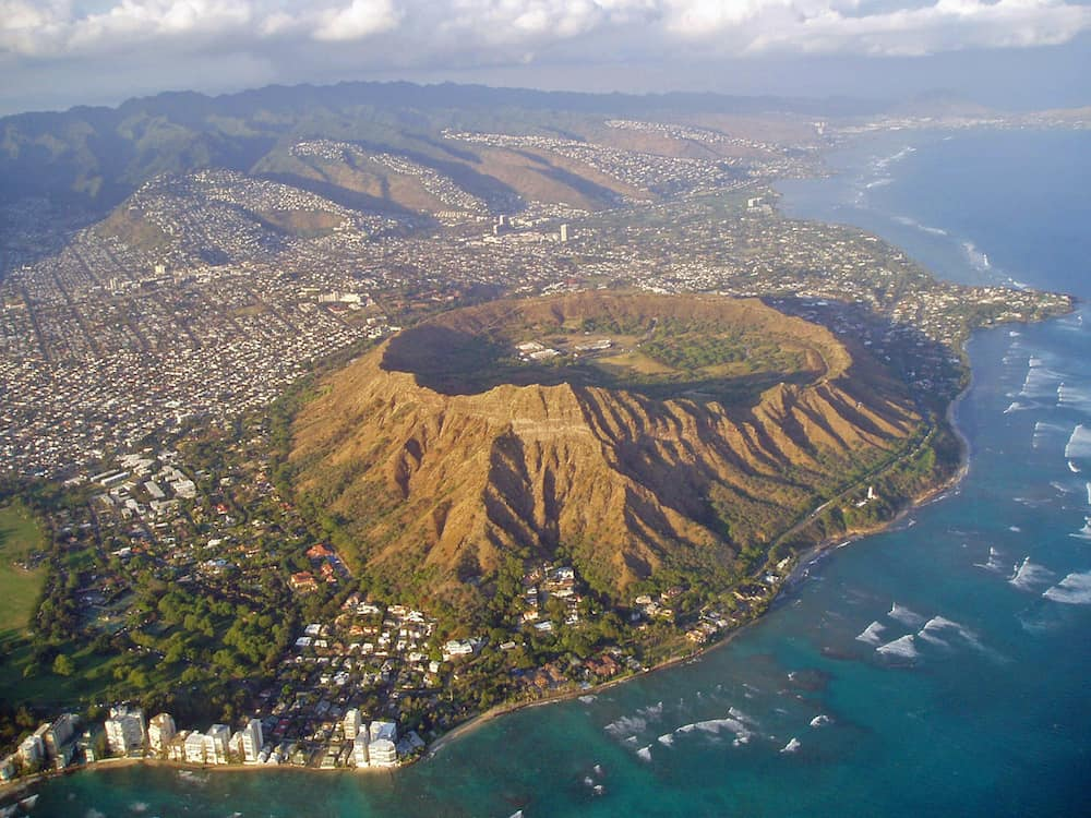 Aerial shot of Diamond Head taken from a plane.