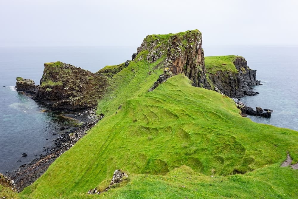 Landscape of Rubha nam Brathairean (Brothers Point) in Isle of Skye in Scotland with interesitng shape of the hill