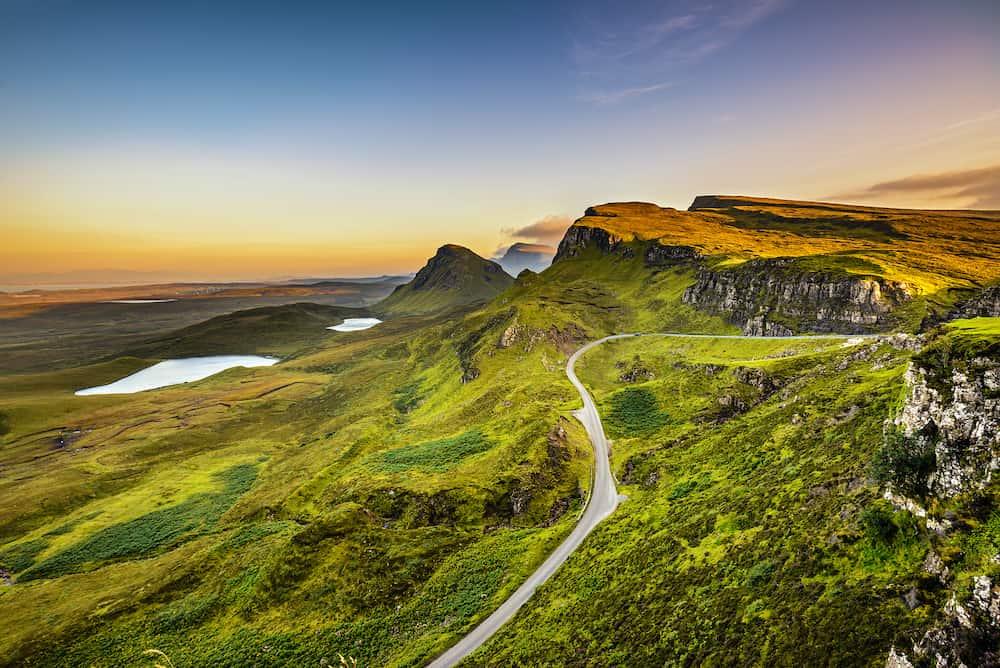 Quiraing mountains sunset at Isle of Skye, Scottish highlands, United Kingdom