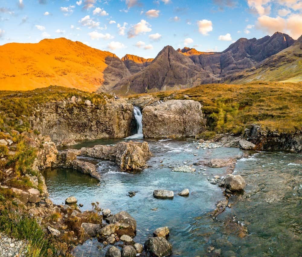 The Fairy Pools in front of the Black Cuillin Mountains on the Isle of Skye - Scotland