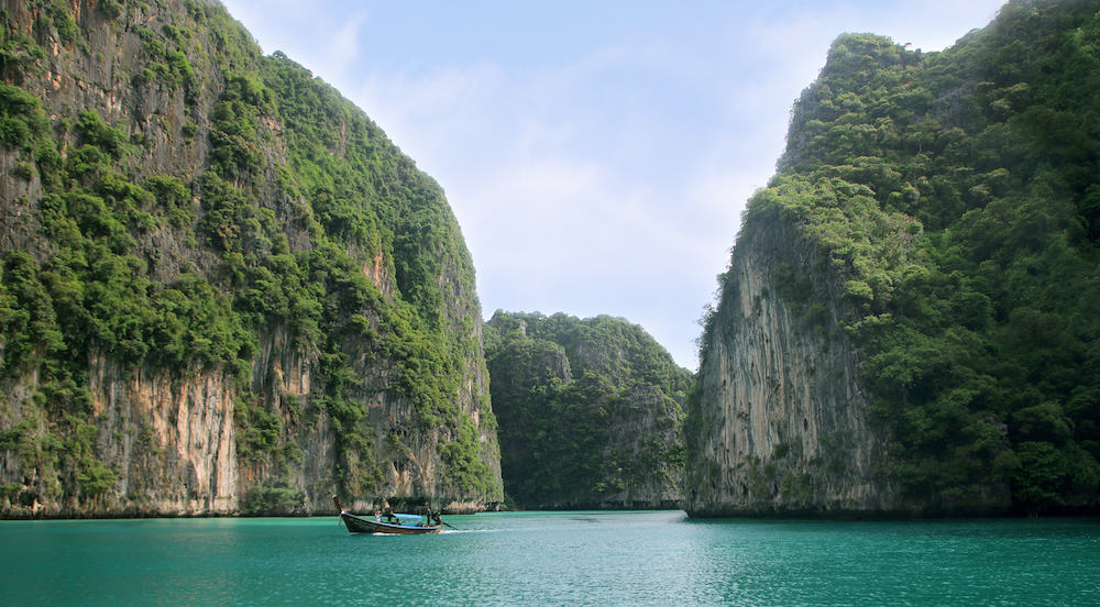 Koh Phi Phi Ley Island, Pileh lagoon, the Andaman Sea, Thailand. Famous tourist destination