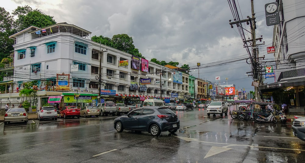 Krabi, Thailand - Cityscape of downtown in Krabi, Thailand. Krabi is the main town in the province on west coast of southern Thailand.