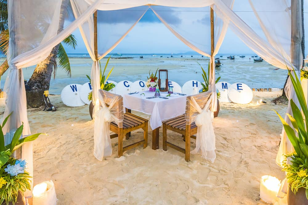 Romantic and festive dinner at beach of Phi Phi island, Krabi Province, Thailand