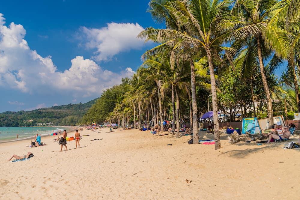 Kamala Phuket Thailand. A view of Kamala beach in kamala Phuket Thailand