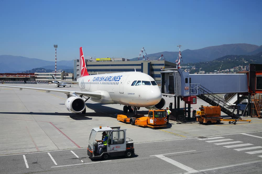 GENOA, ITALY -Airplane in Genoa Cristoforo Colombo Airport, Every year, 1.2 million passengers use airport services
