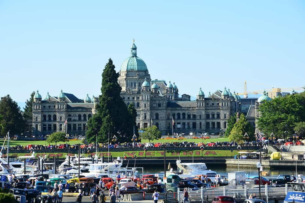 Victoria BC,Canada - Deuce Coupe classic car show in Victoria BC,Canada,with the BC legislature in the background.