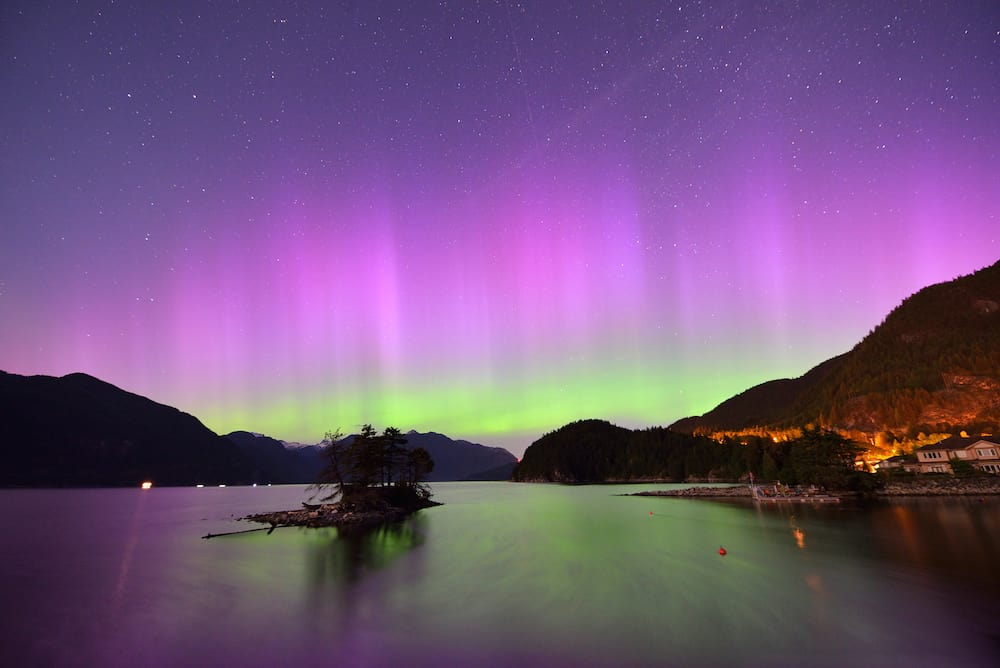 Furry Creek and Aurora at midnight located on Howe Sound in the Squamish-Lillooet Regional District