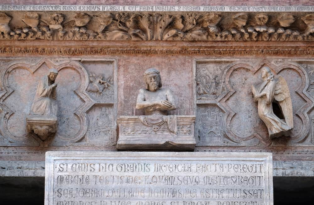 VERONA, ITALY - Tomb of Cangrande della Scala, Scaliger tombs, a group of five funerary monuments celebrating the Scaliger family in Verona, Italy