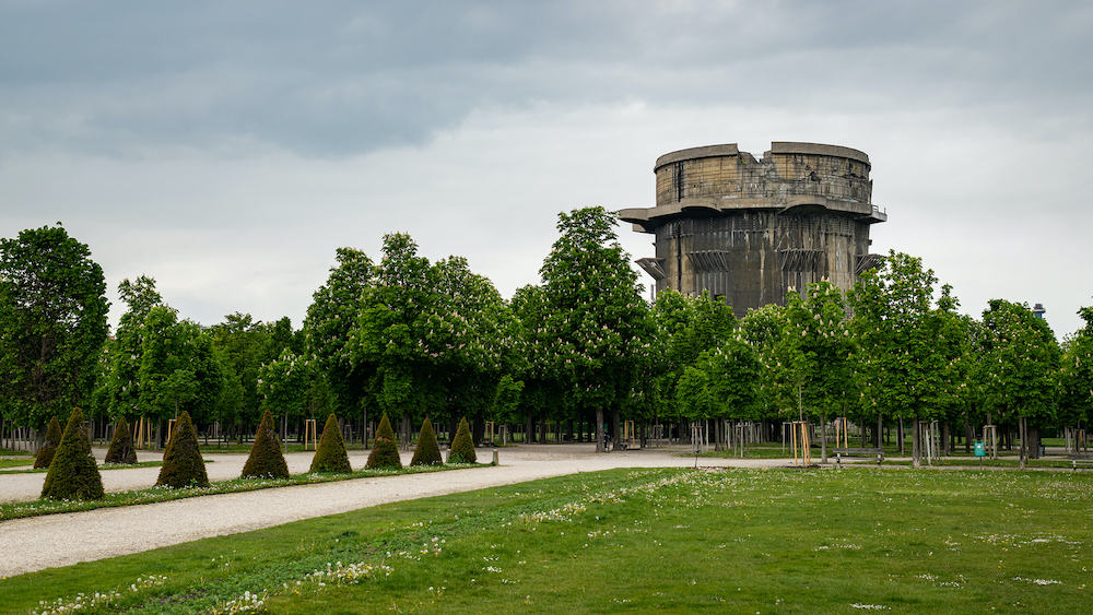 Antiaircraft tower of World War II in Augarten Park in Vienna (Austria) on a cloudy day in spring