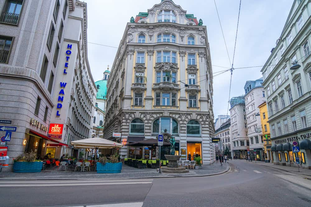 VIENNA, AUSTRIA - Central streets with small cafes, hotels, roads, shops and traditional architecture on autumn day. Travel landmarks and destination scenics concept