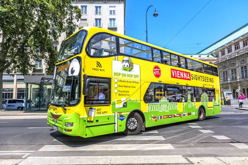 VIENNA AUSTRIA - Touristic bus in Vienna Spain. Vienna Sightseeing is a touristic bus service that shows the city with an audio guide.