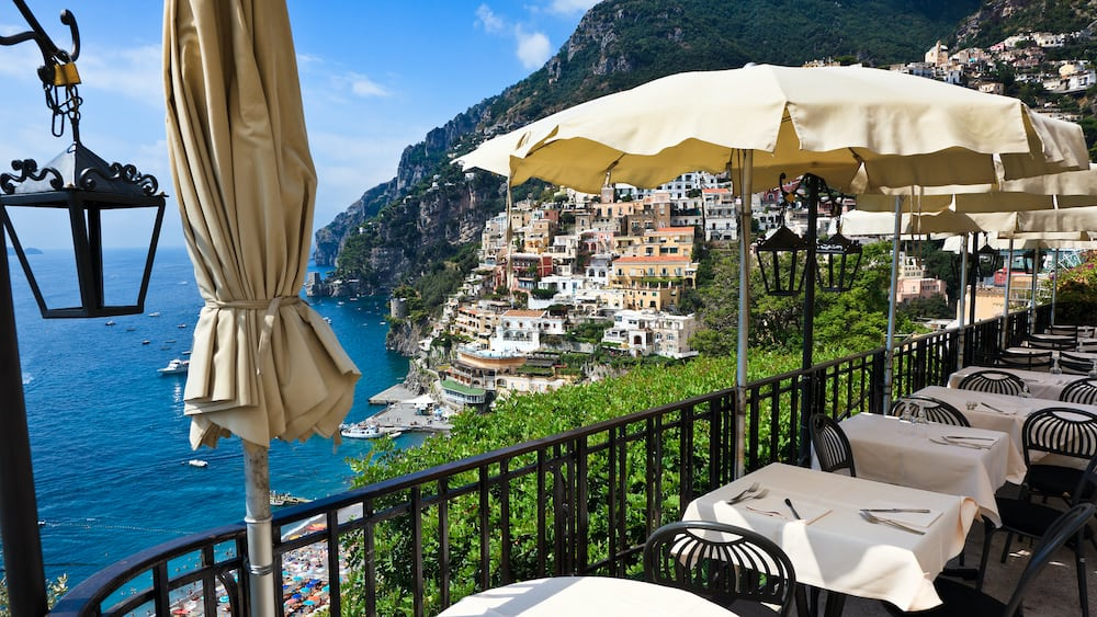 A view of Positano Italy from one of the many restaurants that line the streets.
