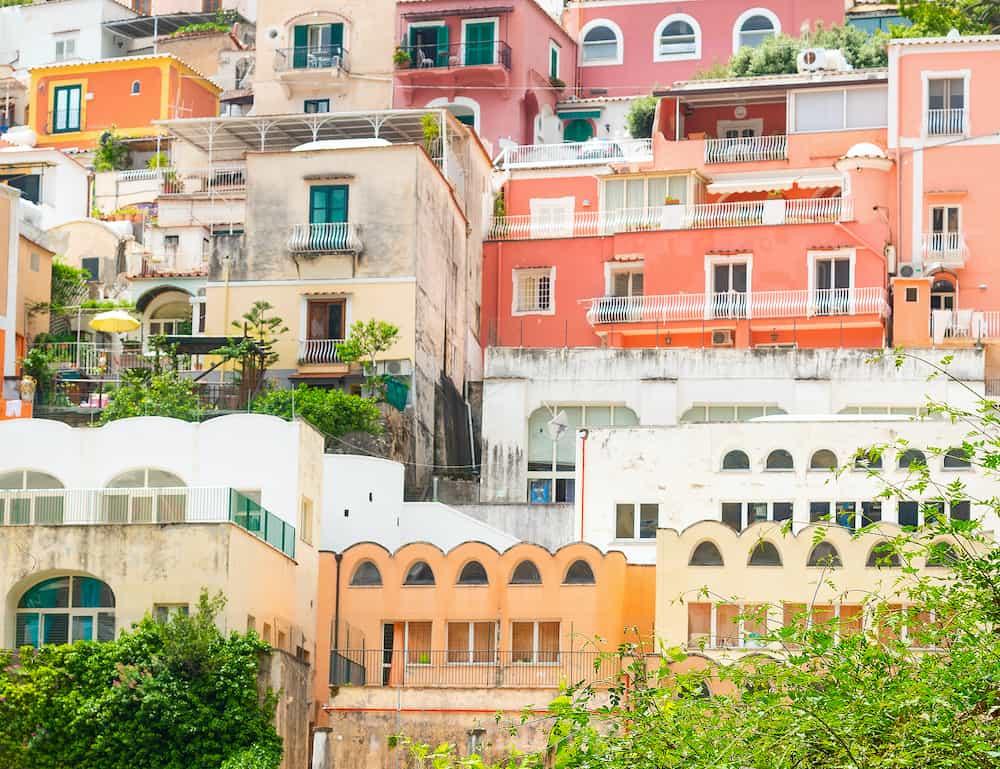 Colorful facades in Positano. Amalfi coast, Italy