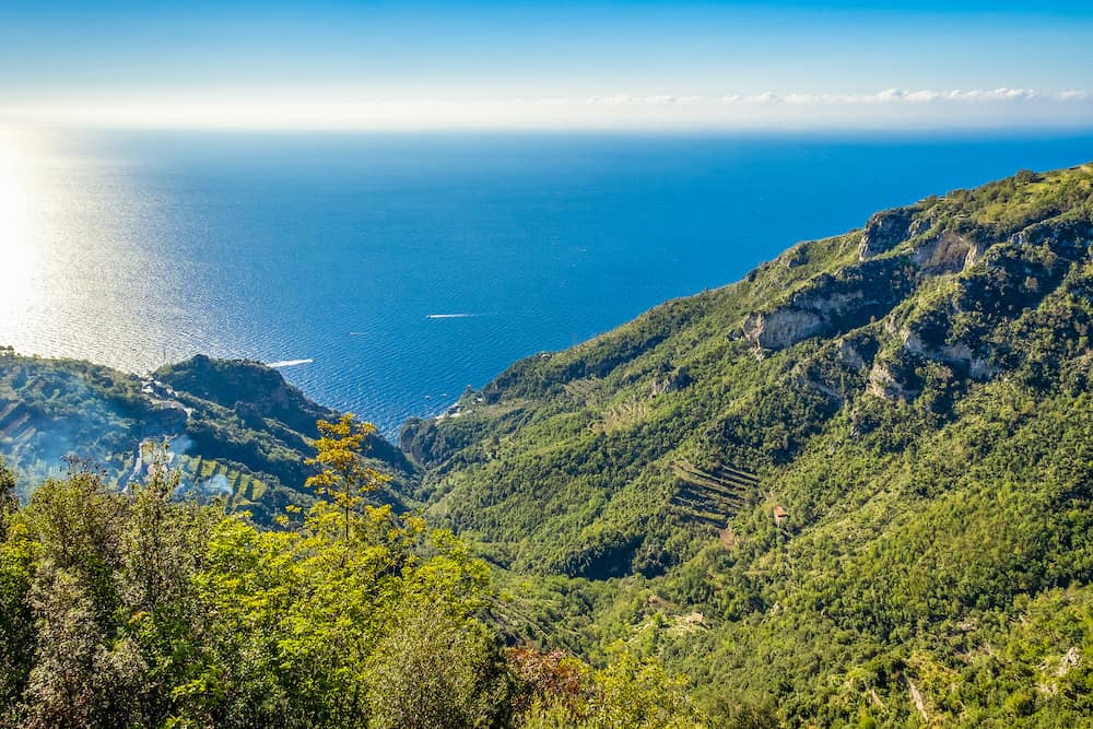 View of the Amalfi Coast from the Path of the Gods, a hiking trail near Positano