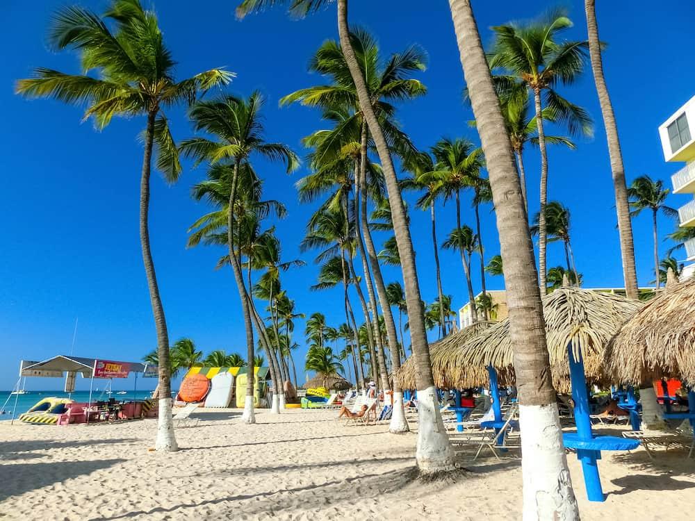 Palm beach, Aruba - View of Palm Beach on the Caribbean island of Aruba. Many hotels, including the Hyatt Regency Aruba Resort and Spa and the Riu Palace Aruba are located on Palm Beach.