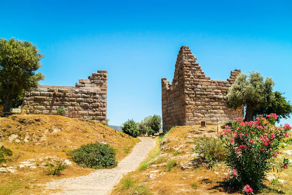 Historic site of Myndos gate the only surviving gate of the ancient wall that surrounded the city of Halikarnassos in Bodrum, Turkey.
