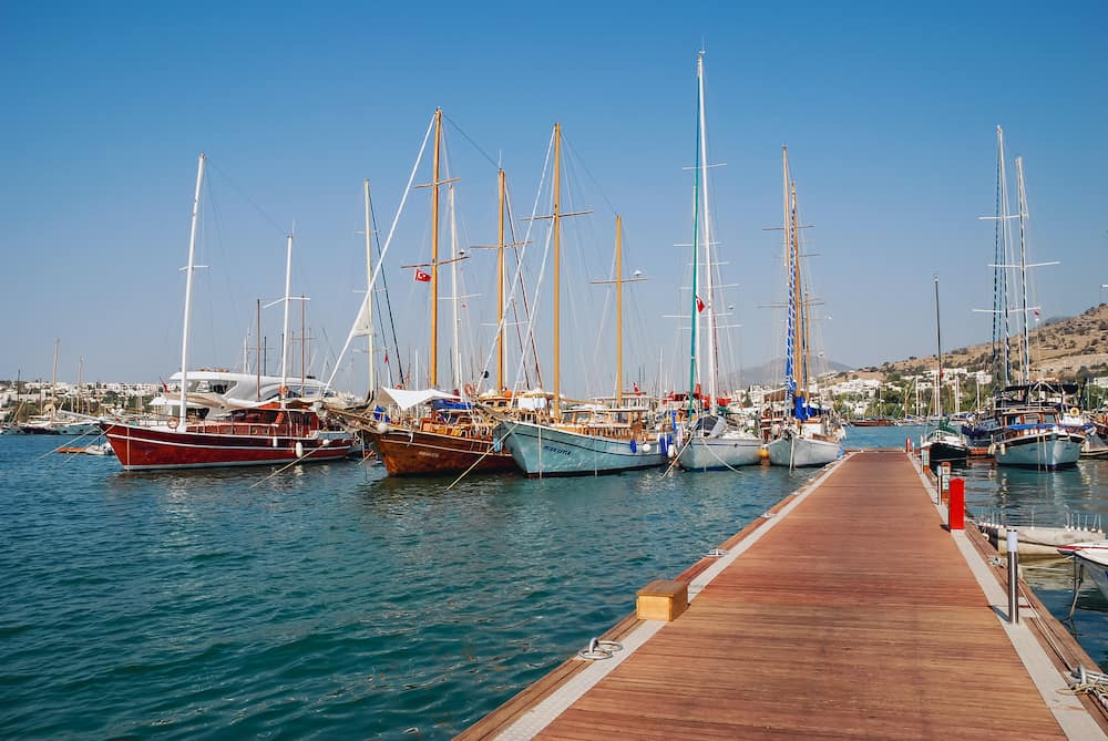 Bodrum, Turkey -Sailing boats in marina of Bodrum city