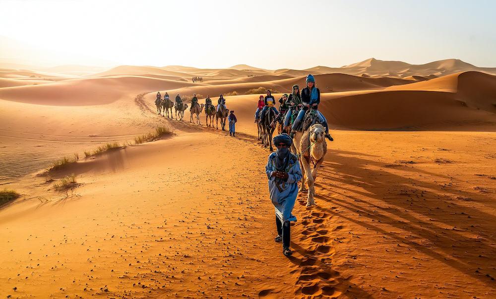 Merzouga, Morocco - Caravan walking in Merzouga Sahara desert on Morocco
