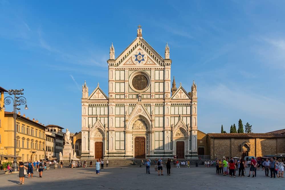 Panoramic view of of The Basilica di Santa Croce in Florence, Italy. Amazing view of The Basilica of the Holy Cross in Florence, Italy.
