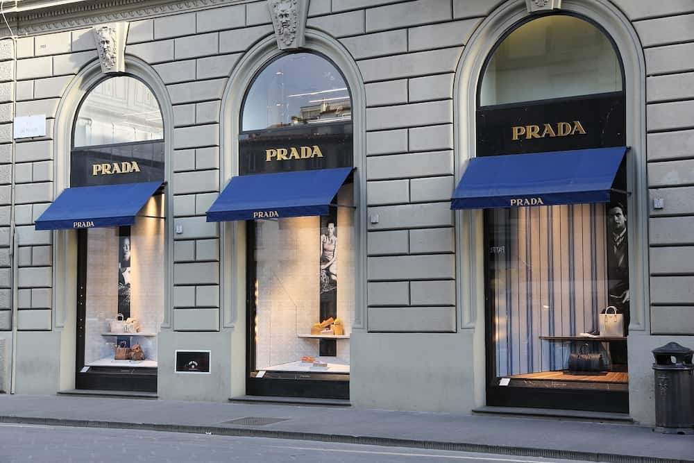 FLORENCE ITALY - : Prada fashion store in Florence. Prada is a fashion company with 3.6 billion EUR of annual revenue (2013).