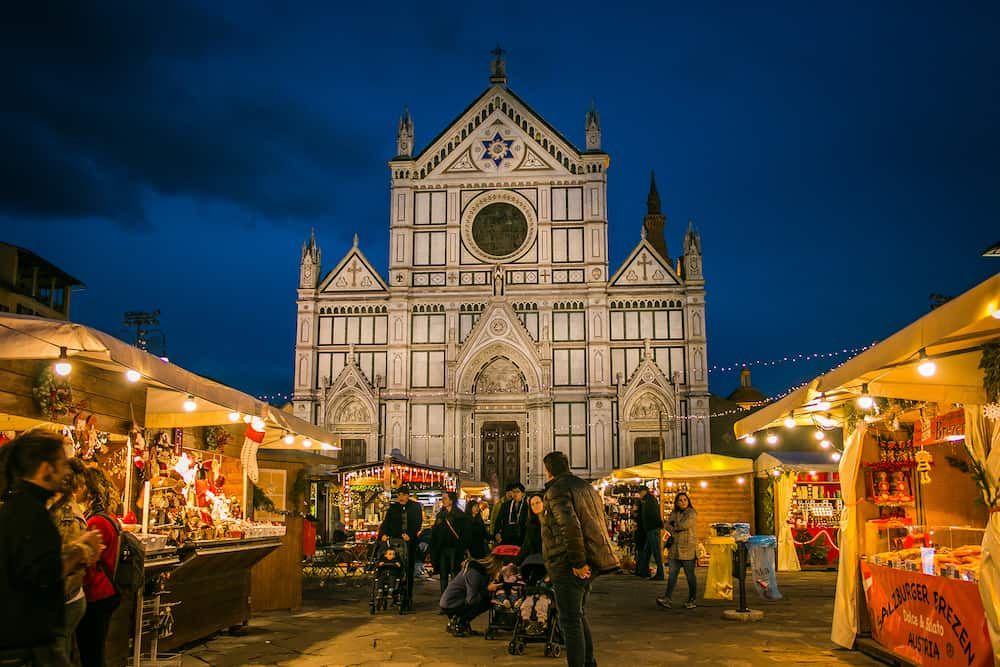 FLORENCE, ITALY - View of the biggest and traditional Christmas market in Florence located in Piazza Santa Croce at night