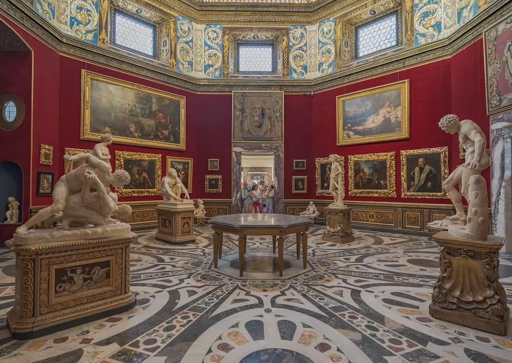 Florence, Italy - interior and arts of Uffizi Gallery art museum near Piazza della Signoria
