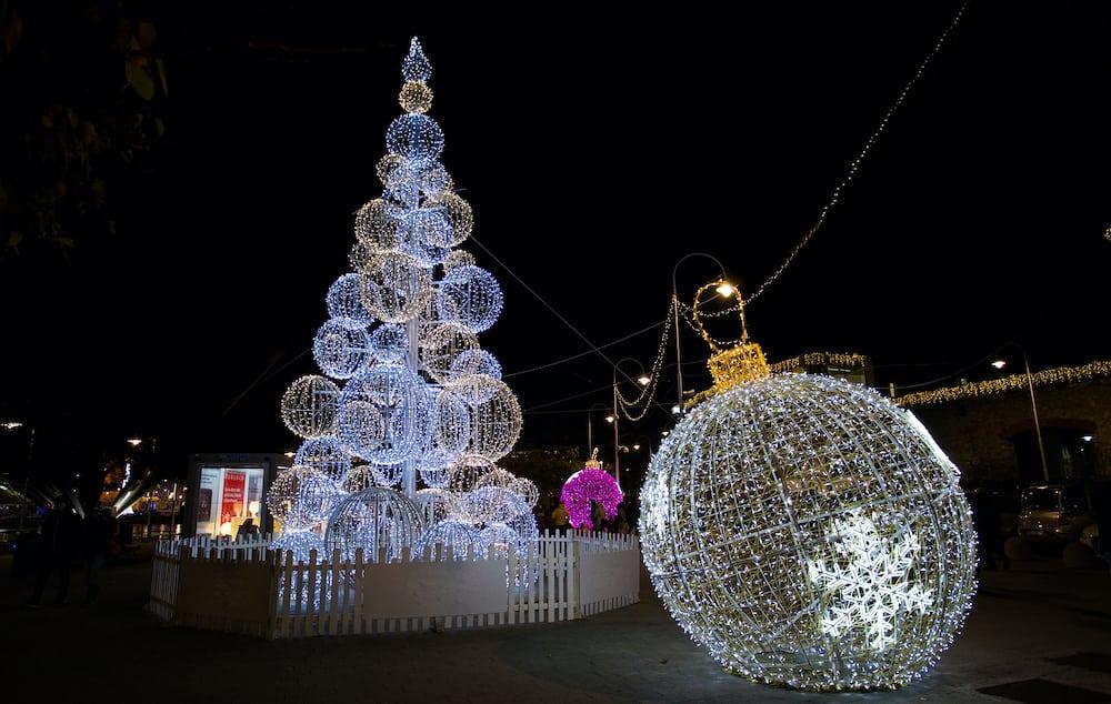 GENOA (GENOVA), ITALY, Illuminated Christmas tree in the old harbor (porto antico) of Genoa, Italy.