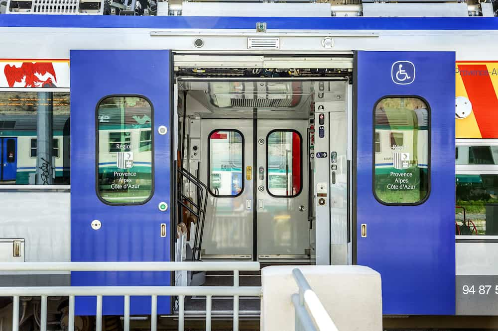 Genoa, Italy. Sliding doors to the train car. Close-up.