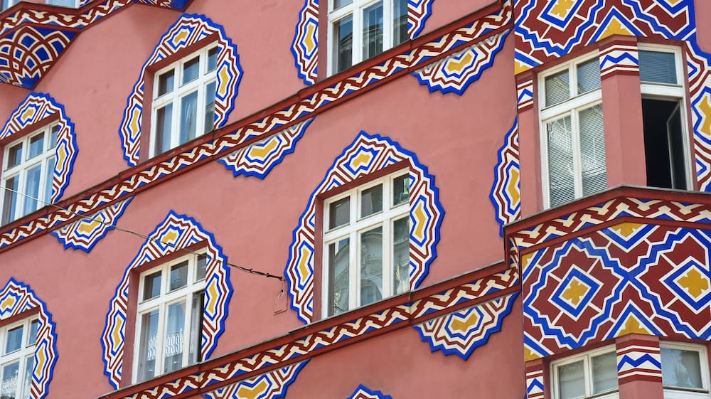 Details of beautiful building of former Cooperative Bank, sunny day, Ljubljana, Slovenia