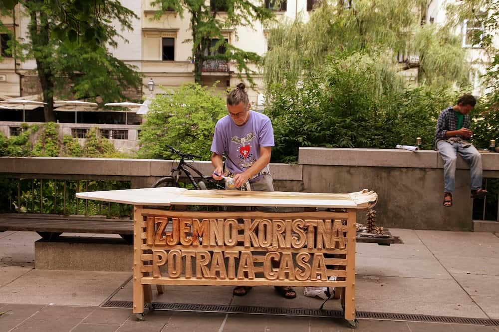 LJUBLJANA SLOVENIA - Exhibition with replicas arts and ethnographic crafts and craftsmen at work . LJUBLJANA