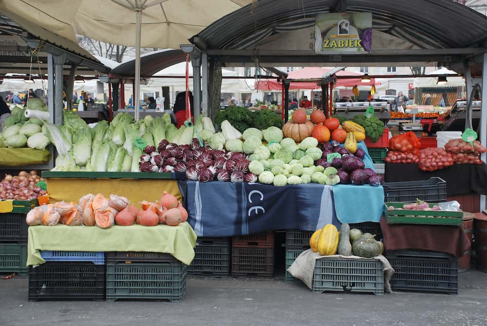 Ljubljana, Slovenia - Fresh fruit and vegetables are displayed on a stall on a cold December day at Ljubljana's Central fruit and vegetable market.