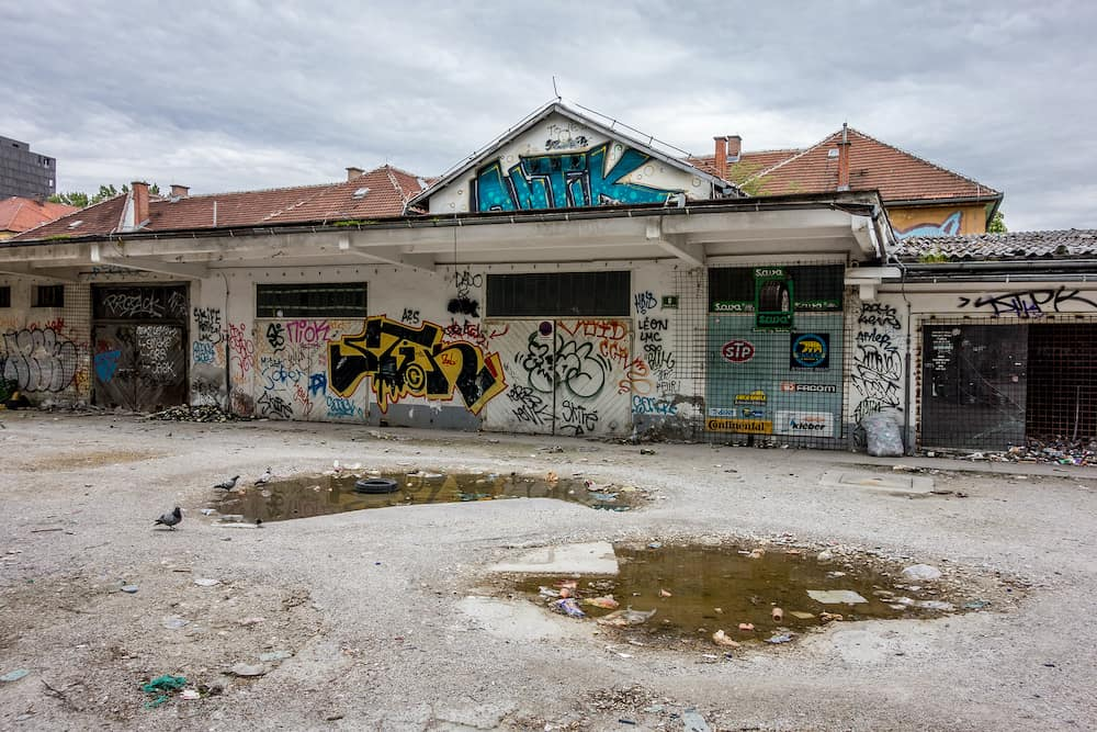 LJUBLJANA SLOVENIA - The view of the squat in Metelkova ulica (street) in Ljubljana Slovenia on April 14 2014. The place was squatted in 1993 and it is squat and cultural centre nowadays.