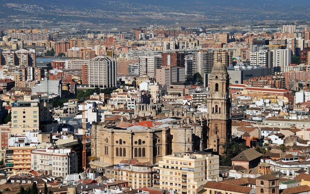 MALAGA, SPAIN - Elevated view of the Cathedral and city buildings, Malaga, Malaga Province, Andalucia, Spain, Western Europe