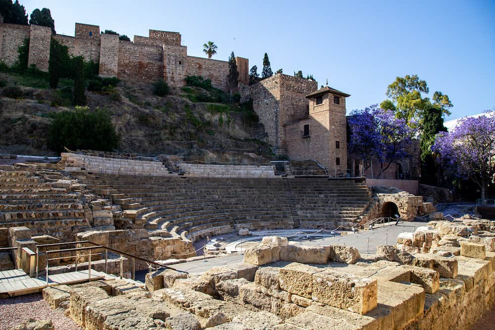 Malaga, Spain -Ruins of the old Roman theatre in the historic city centre.