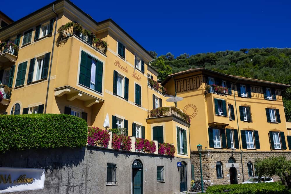 Portofino, Italy - Liguria- view of the Piccolo Hotel at Portofino Italy