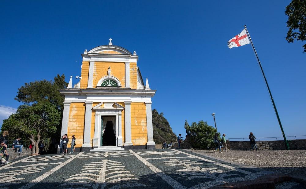 PORTOFINO, ITALY, - San Giorgio (St. George) church, Portofino, Genoa province, Liguria, Italy.