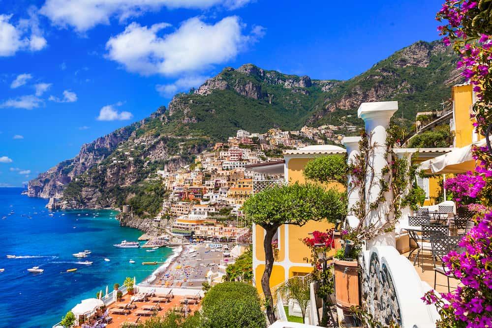 Splendid Amalfi coast - beautiful Positano popular tourist destination for summer holidays in Italy
