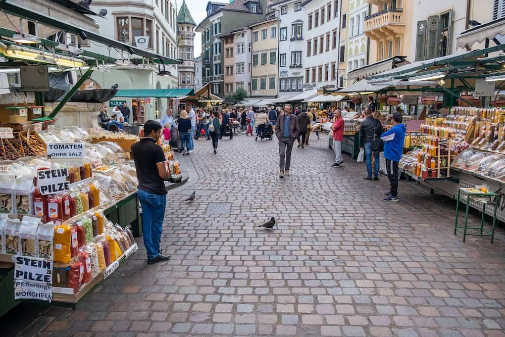 BOLZANO, ITALY - Famous street market at the historic city center of Bolzano. Italy