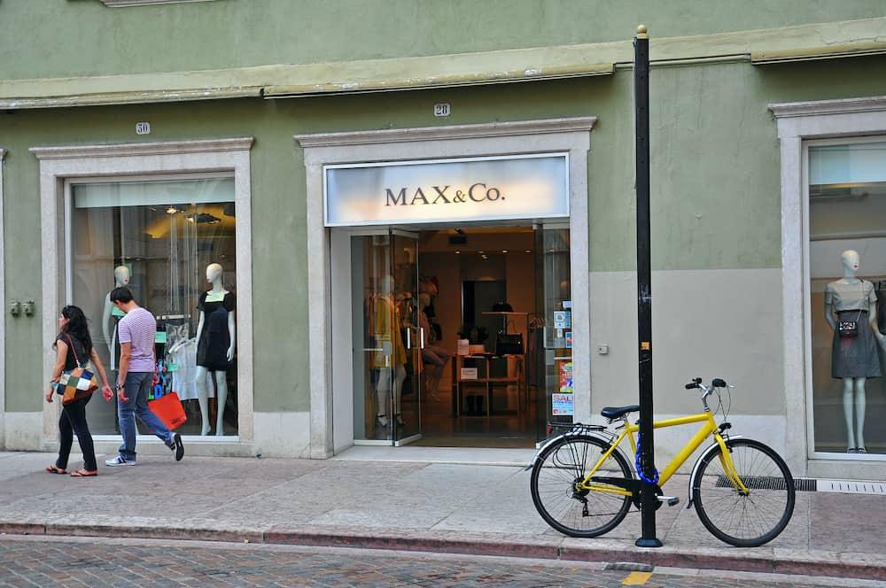 TRENTO ITALY - Facade of Max & Co flagship store in Trento Italy
