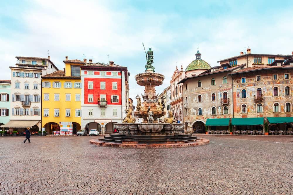 Piazza del Duomo central square in Trento. Trento is a city on the Adige River in Trentino Alto Adige Sudtirol in Italy.
