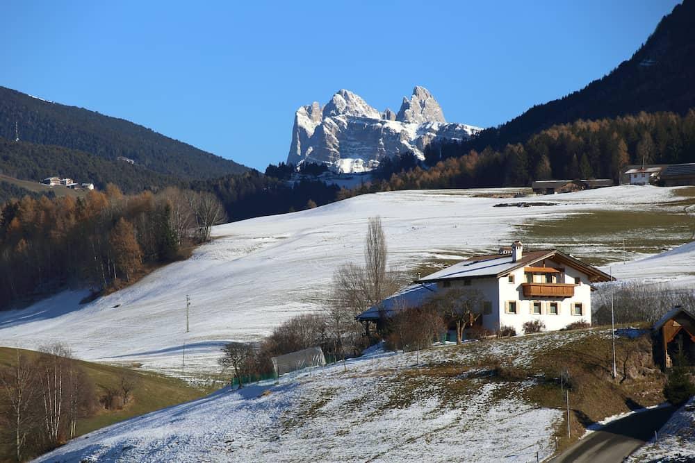 alpine landscape at Dolomites in winter, Italy