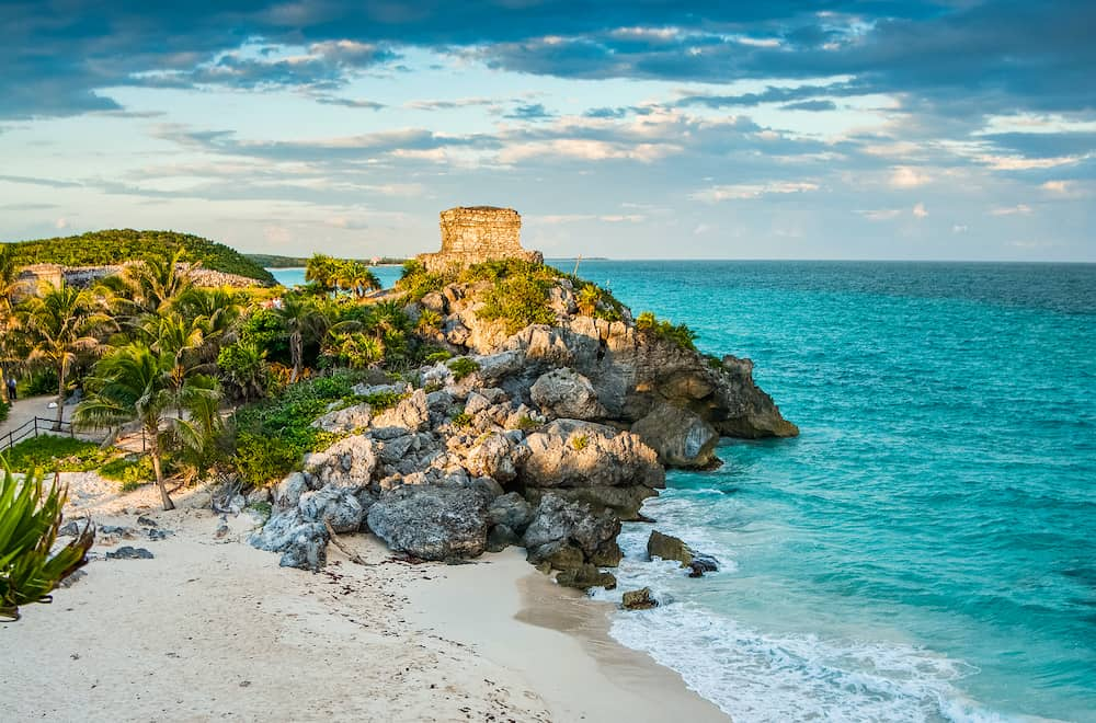 Archaeological site Tulum in Yucatan peninsula by the Caribbean Sea in Mexico during the sunset