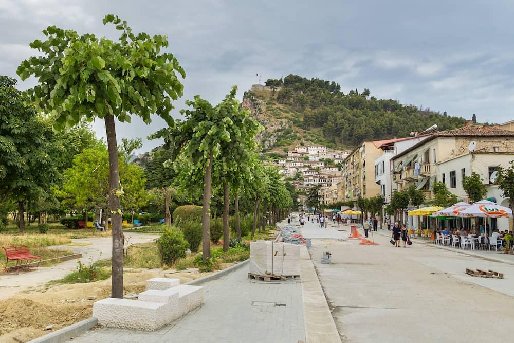 Berat, Albania-Street of the new city of Berat. Berat, called the city of a thousand windows.