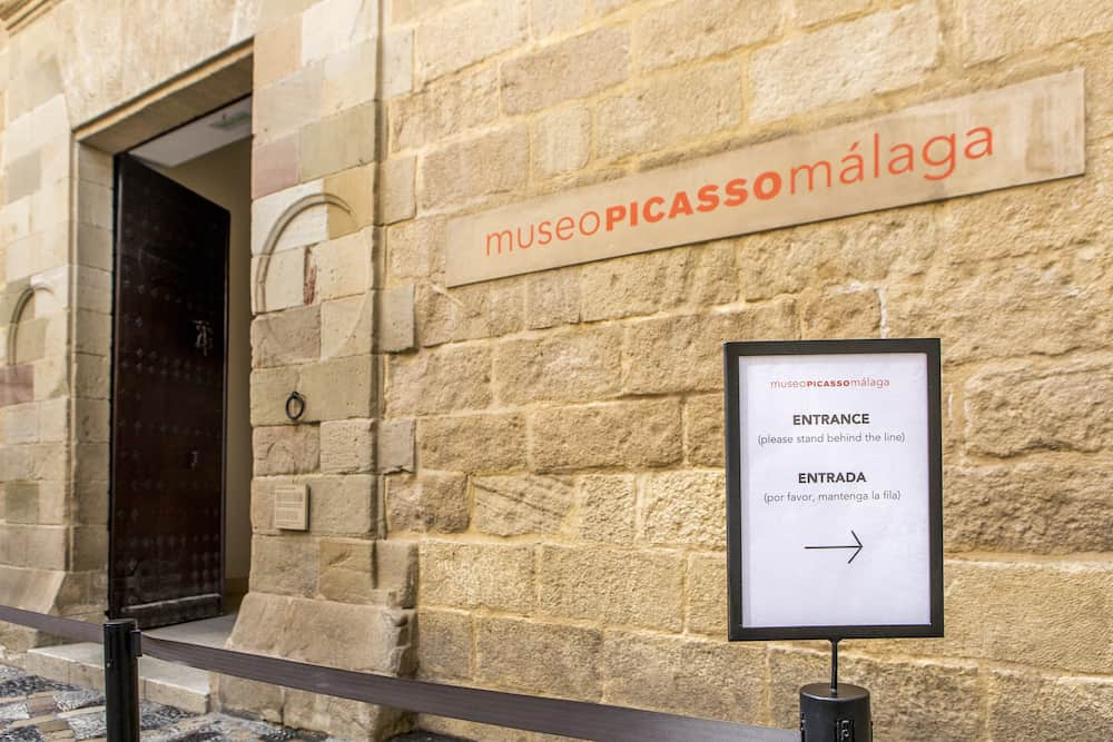 MALAGA, SPAIN - Picasso Museum entrance, located in an old classic palace in the city of Malaga, Spain.