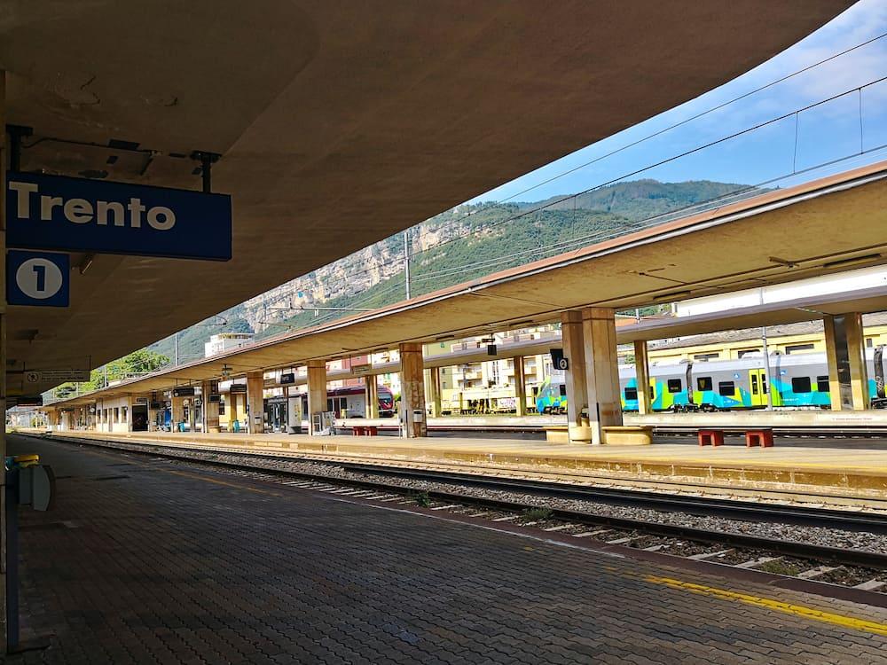 Trento, Italy - Empty platform at the Trento railway station.