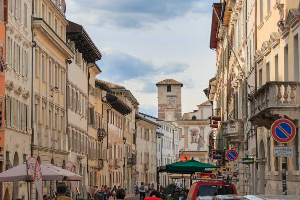 Trento, Italy - Via Rodolfo Belenzani in the center of the beautiful Italian city of Trento in the region of Trentino Alto Adige Suedtirol
